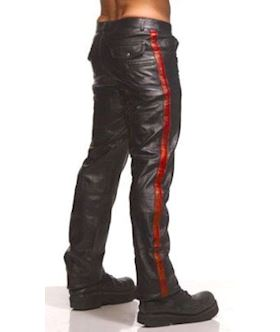 Police Leather Pants with Red Stripe