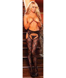 Rear Window Crotchless Suspender Pantyhose