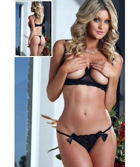black open cups bra lace lingerie set