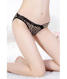 brown leopard panties with lace and straps detailed