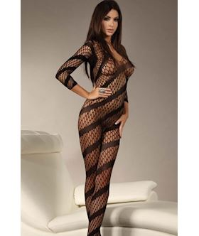 diagonal fishnet crotchless bodystocking