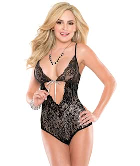 flirting midnight stretch lace teddy lingerie