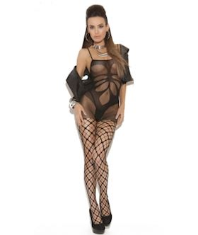 floral hollows body stocking with pothole legs