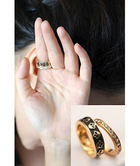 golden two-piece rhinestone skull rings