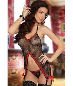 Black and Red Garter Chemise