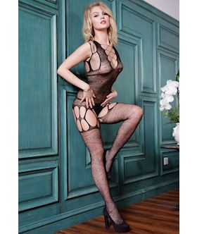 Geometric Print Hollow-out Sexy Body Stockings
