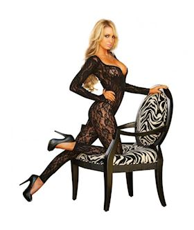 Lace Long Sleeved Footless Crotchless Bodystocking