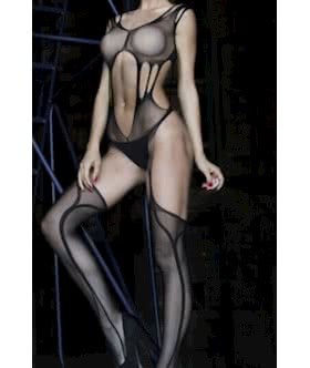Black Mesh Bodystocking