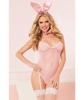 Bunny Business seamless fishnet teddy