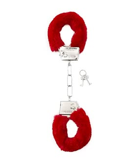 Shots Toys Furry Handcuffs - Red