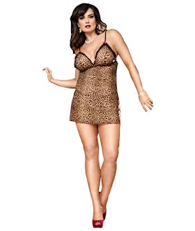 Two-Piece Chemise Set Queen Leopard
