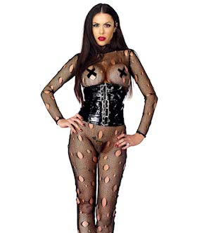 Pain Distressed Fishnet Catsuit - M/L