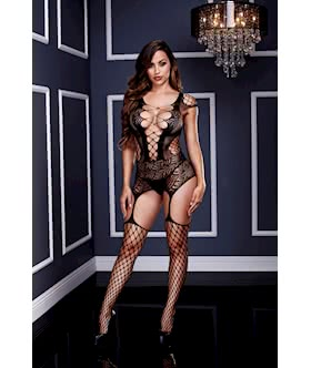 Corset Front Suspender Fishnet Bodysuit - One Size