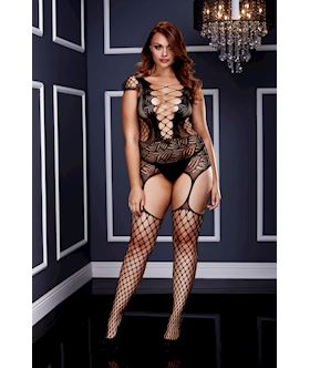 Corset Front Suspender Fishnet Bodysuit - Queen Size