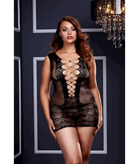 Ultra Corset Lace Up Cut Out Mini Dress - Queen Size