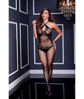 Criss-cross Lace Crotchless Bodystocking