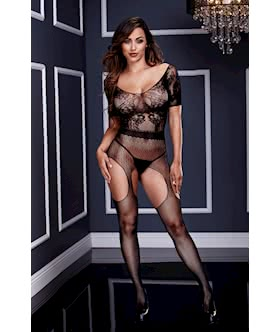 Short Sleeve Crotchless Body Stocking - One Size