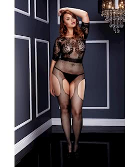 Short Sleeve Crotchless Body Stocking - Queen Size