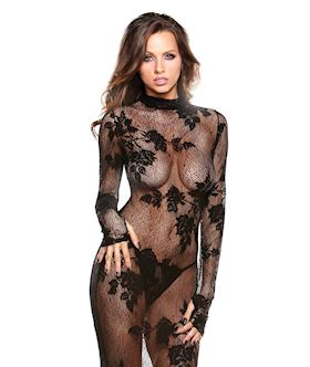 Long Sleeve Floral Lace Gown & G-String