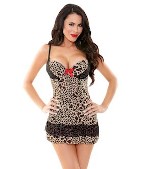 Leopard Underwire Babydoll with G-string