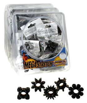 MEGA STRETCH RINGS BLACK (72/BOWL)