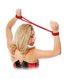 Fetish fantasy series silk rope love cuffs - red