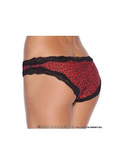 Red Leopard Skin Crotchless Knickers