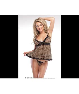 Leopard Mesh Baby Doll and G-String