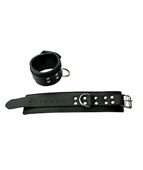 Black Leather Cuffs with D Ring
