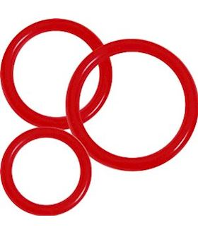 3 Rubber Ring Set - Red