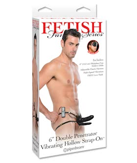 Fetish Fantasy 6inch Double Penetrator Vibrating Hollow Strap-On