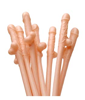 Dicky Penis Sipping Straws 10 Pack - Flesh