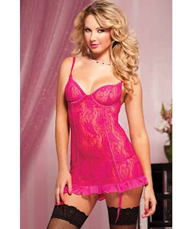 Paisley Pleasure Paisley lace chemise removable garters and thong STM 9403