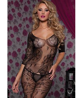 Swirl and floral lace 3 4 sleeve open crotch body stocking