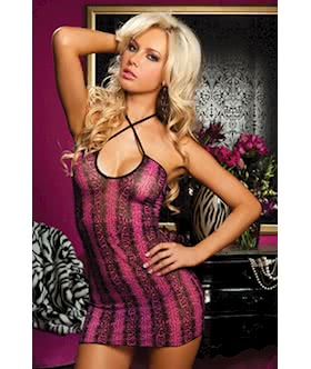 Walk On The Wild Side Mesh snakeskin print chemise