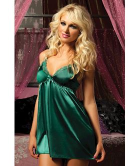 Satin chemise with lace trim triangle cup Plybg STM 9284 M Gn