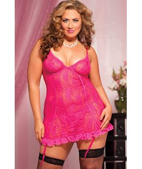 Paisley Pleasure Paisley lace chemise removable garters and thong