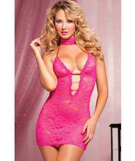 Midnight Affair Lace chemise choker/eye mask, and thong STM 9217
