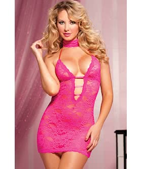 Midnight Affair Lace chemise choker/eye mask, and thong