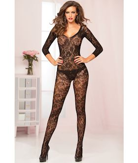 Crochet floral lace 3 4 sleeve body stocking STM 20419