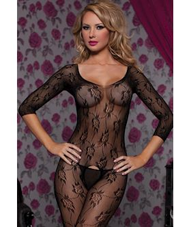 Floral lace 3/4 sleeve open crotch body stocking