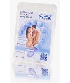 Sex In The Shower Blue Silicone Anal Beads